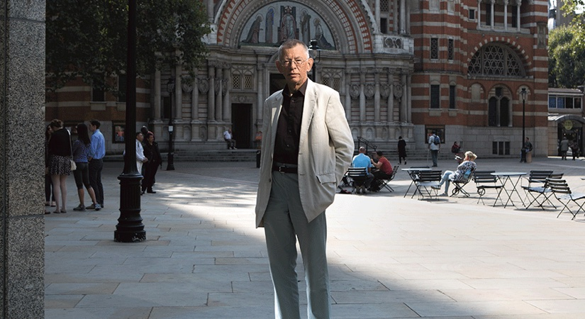 Richard Dennis stands in Westminster Piazza