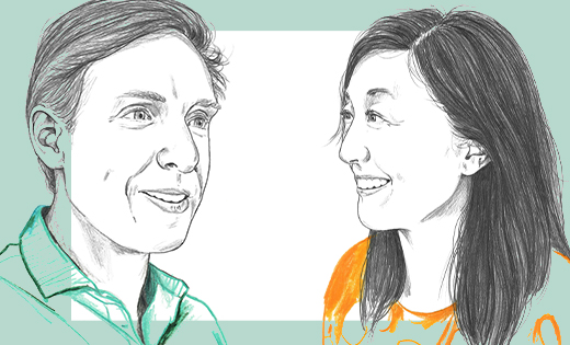 Illustration of Dr Tim Bartels and Dr Soyon Hong having a conversation together