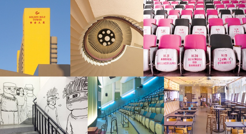 Collage showing the interior of the arthouse cinema in a Brutalist tower block in Singapore