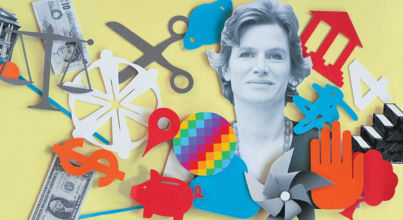 Illustration of Mariana Mazzucato with a selection of symbols and objects around her - a pound, euro and dollar sign, scissors, stairs and a hand