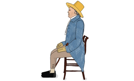 Illustration of English philosopher Jeremy Bentham sitting on a chair