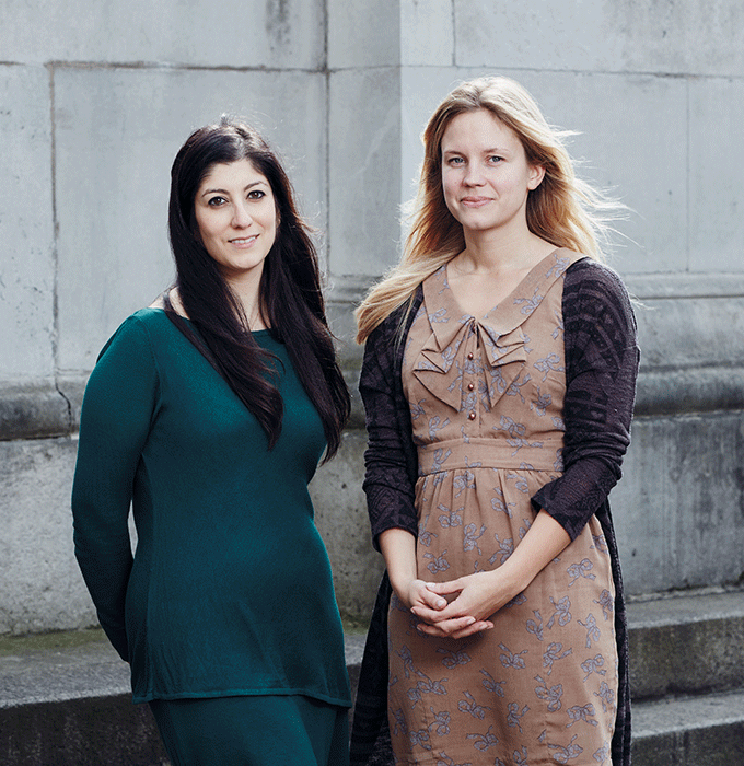 Photograph of Shiva Riahi, Head of Projects (left) with Klara Holdstock