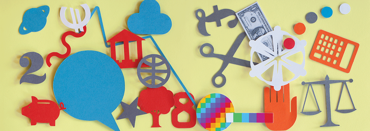 Illustration of a selection of symbols and objects - a pound, euro and dollar sign, scissors, stairs, a hand, scales and a calculator