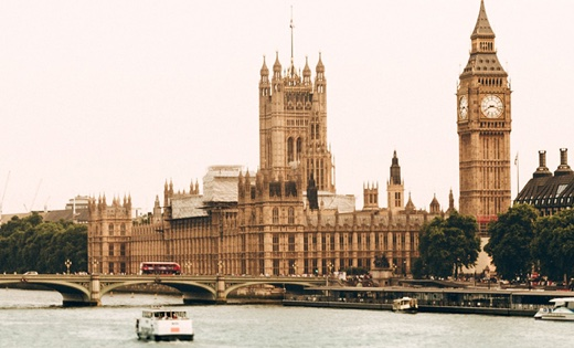 View of the Houses of Parliament across the River Thames