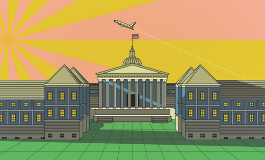 Illustration of the White House with a plane flying overhead