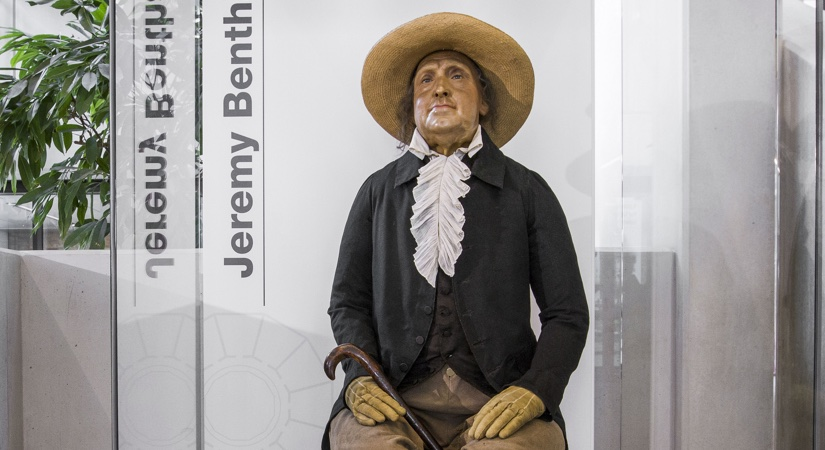 Mannequin of Jeremy Bentham on display at a pop up exhibition at UCL