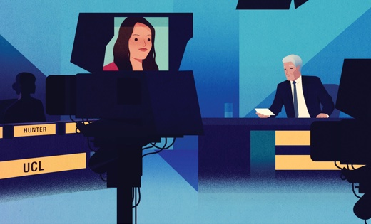 Illustration of the set of University Challenge with Jeremy Paxman hosting and a panel of contestants