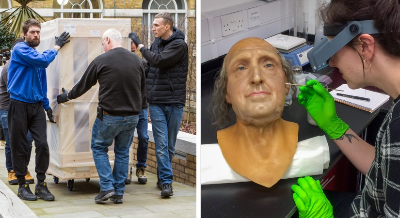 Mannequin of Jeremy Bentham being made, and later transported to the exhibition